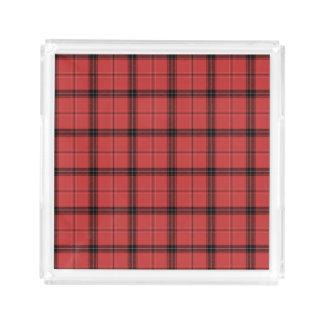 赤い格子縞のタータンチェックのクリスマスの休日パターン アクリルトレー