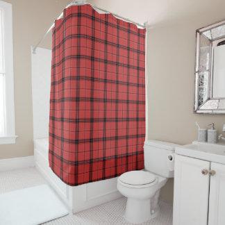 赤い格子縞のタータンチェックのクリスマスの休日パターン シャワーカーテン
