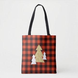赤い格子縞のトートバックのクリスマスツリー トートバッグ