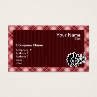 赤い格子縞のト音記号 名刺