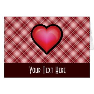 赤い格子縞のハート カード