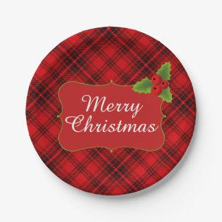 赤い格子縞のメリークリスマスのパーティ ペーパープレート