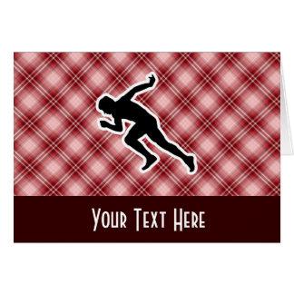 赤い格子縞のランニング カード