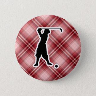 赤い格子縞のヴィンテージのゴルファー 5.7CM 丸型バッジ