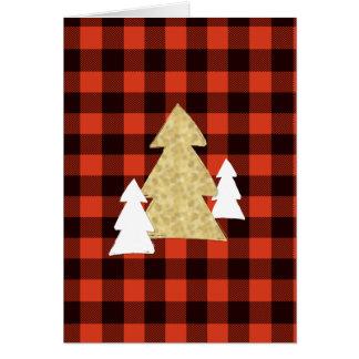 赤い格子縞の休日カードのクリスマスツリー カード