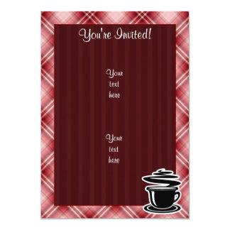 赤い格子縞の熱いコーヒー カード
