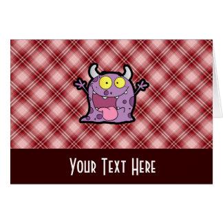 赤い格子縞の紫色モンスター カード