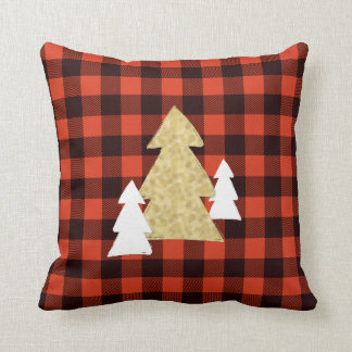 赤い格子縞の装飾用クッションのクリスマスツリー クッション