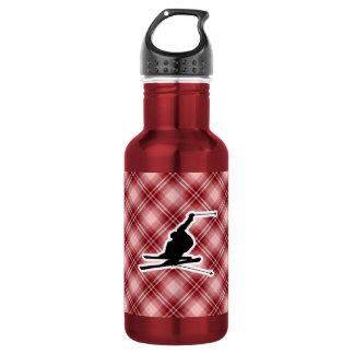 赤い格子縞の雪のスキー ウォーターボトル