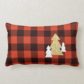 赤い格子縞のLumbarの装飾用クッションのクリスマスツリー ランバークッション