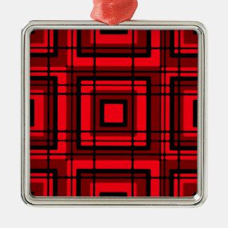 赤い格子縞 メタルオーナメント