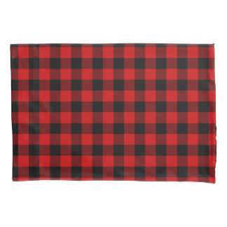 赤い格子縞 枕カバー