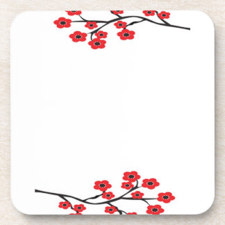 赤い桜のコルクのコースター コースター