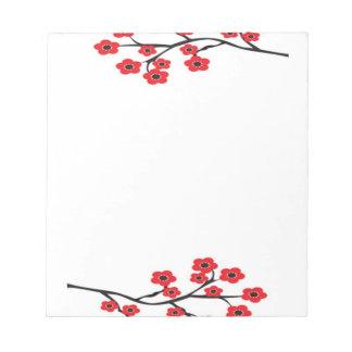 赤い桜のメモ帳 ノートパッド