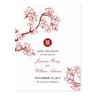 赤い桜の花の二重幸福の保存日付 ポストカード
