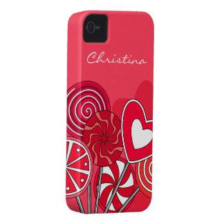 赤い棒つきキャンデーのiPhone 4/4Sの箱 Case-Mate iPhone 4 ケース