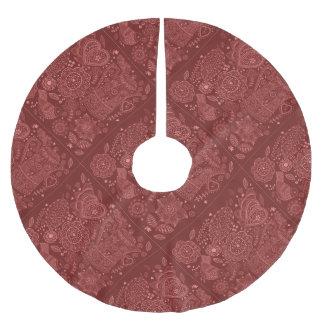 赤い民芸の落書き ブラッシュドポリエステルツリースカート