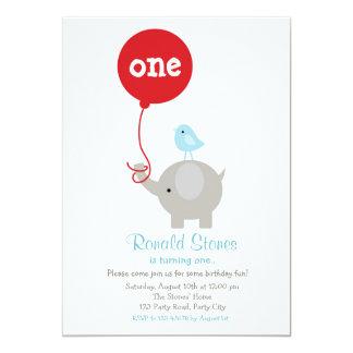 赤い気球を持つ象の誕生日の招待状 12.7 X 17.8 インビテーションカード