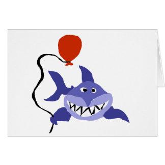 赤い気球を握っているおもしろいな鮫 グリーティングカード
