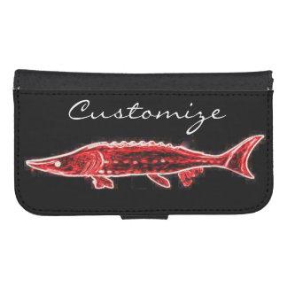 赤い水中のチョウザメの黒 ウォレットケース