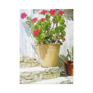 赤い水彩画のゼラニウム キャンバスプリント