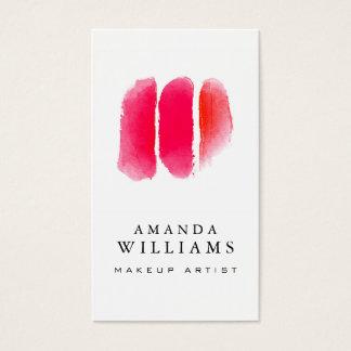 赤い水彩画のメーキャップアーティストの材料見本 名刺
