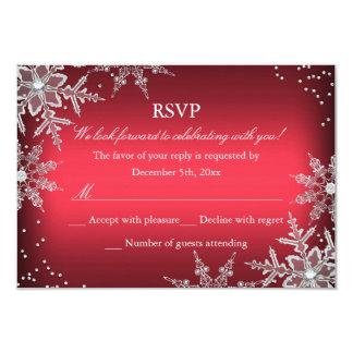赤い水晶雪片のクリスマス・パーティRSVP カード