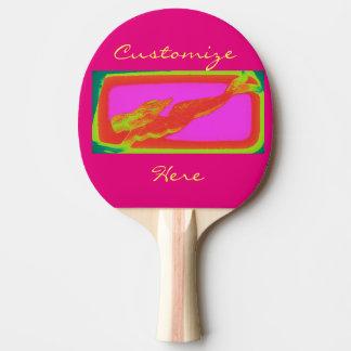 赤い水泳のモザイク人魚 卓球ラケット