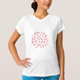 赤い水玉模様が付いている女性の性能のTシャツ Tシャツ