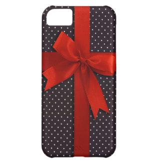 赤い水玉模様のリボン iPhone5Cケース