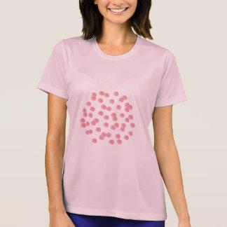 赤い水玉模様の女性の性能のTシャツ Tシャツ