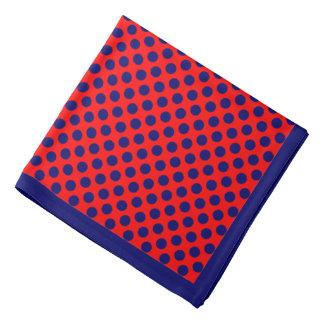 赤い水玉模様の濃紺、濃紺のボーダー バンダナ
