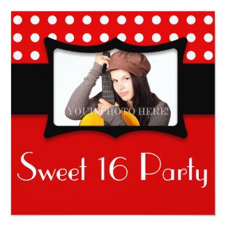 赤い水玉模様の菓子16の写真 13.3 スクエアインビテーションカード