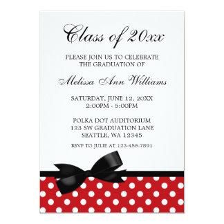 赤い水玉模様の黒の弓卒業の発表 カード