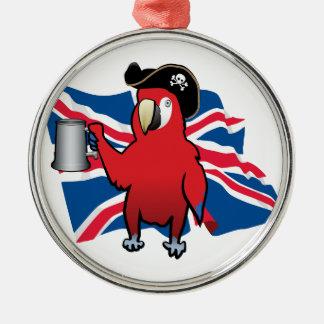 赤い海賊オウムおよび英国国旗 メタルオーナメント