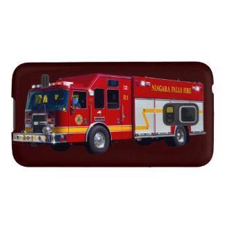 赤い消防車の消防士のトラック装置箱 GALAXY S5 ケース