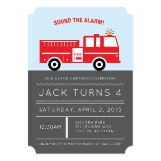 赤い消防車の誕生日のパーティの招待状 12.7 X 17.8 インビテーションカード
