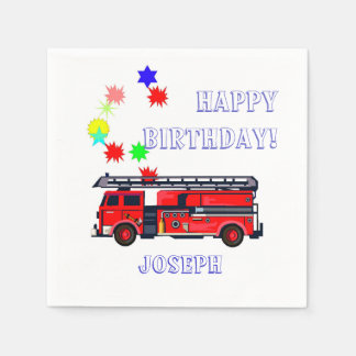 赤い消防車の誕生日 スタンダードカクテルナプキン
