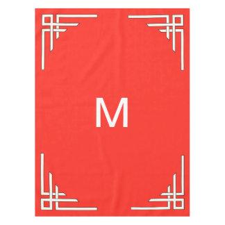 赤い深紅色のカッコいいのモノグラムだけ テーブルクロス