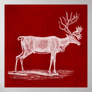 赤い深紅色の羊皮紙色のクリスマスのトナカイ ポスター