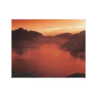 赤い湖のキャンバスの芸術の平静 キャンバスプリント