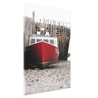 """赤い漁船""""灯台ルート""""ノバスコシア キャンバスプリント"""