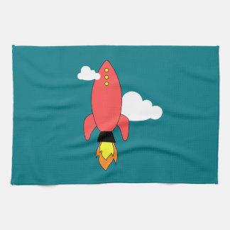 赤い漫画のロケット キッチンタオル