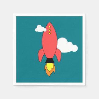 赤い漫画のロケット スタンダードカクテルナプキン
