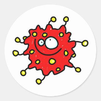 赤い漫画の細菌 ラウンドシール