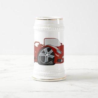 赤い漫画車の芸術 ビールジョッキ