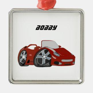 赤い漫画車の芸術 メタルオーナメント