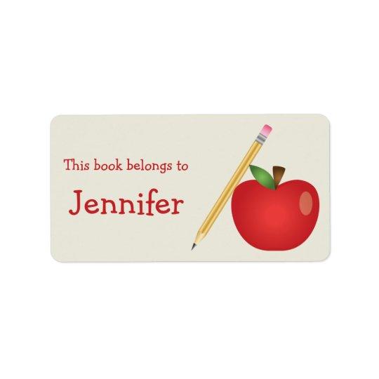 赤い漫画Appleおよび黄色い鉛筆及び名前をカスタムする ラベル