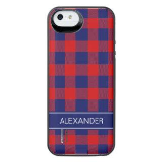 赤い濃紺のバッファローの点検の格子縞の名前のモノグラム iPhone SE/5/5sバッテリーケース