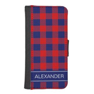赤い濃紺のバッファローの点検の格子縞の名前のモノグラム iPhoneSE/5/5sウォレットケース